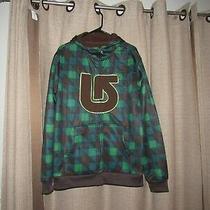 Burton Mens Medium Large Full Zip Jacket Hooded Sweatshirt Brown Blue Green Photo