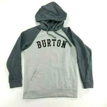 Burton Mens Pullover Sweater Drawstring Hoodie Spell-Out Logo Grey W/ Black Sz S Photo