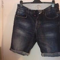 Burton Menswear - Blue Stone Wash Denim Shorts. Size 34. Good Used Condition. Photo