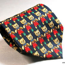 Burton of London Silk Necktie Tie Teddy Bears on Blue Twill Made in Italy Euc Photo
