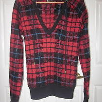Burton Red Plaid Acrylic Wool Hoodie Sweater L Womens Photo