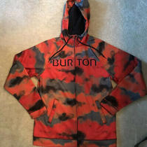 Burton Snowboarding Mb Peak Hoodies Sz L Zip Up Jacket- Orange Gray & Black  Photo