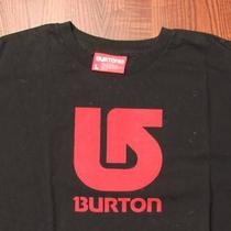 Burton Solid Logo Skate Surf Skating Surfing Large Black T-Shirt Photo