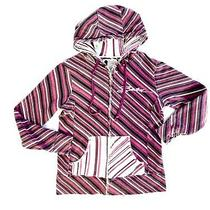 Burton Sweatshirt Womens Size Medium Purple Striped Full Zip Hoodie Sweatshirt Photo