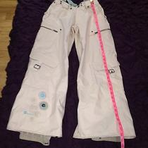 Burton Women's Snowboard Pants With Suspenders Antique White Small Guc  Photo