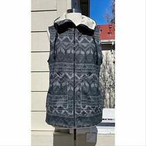 Burton Womens Star Vest Fleece Zip Front Hooded Size M Blue Photo