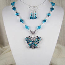 Butterfly Aqua Turquoise Blue Necklace Set-4 Dress-Renaissance Victorian Sca  Photo
