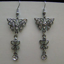 Butterfly Dangle Earrings Clear Swarovski Crystal E1166 Photo
