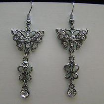 Butterfly Dangle Earrings Clear Swarovski Crystal E1166 Photo