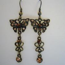 Butterfly Dangle Earrings Clear Swarovski Crystal E1166a Photo