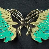Butterfly Stretch Belt Sz L Vintage 80s Aqua Turquoise Blue Gold Enamel Elastic Photo