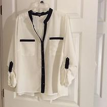 Button Down Blouse-Elements Macy's 3x - Cream With Black Photo