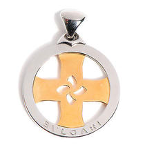 Bvlgari Bulgari Stainless Steel 18k Gold Tondo Cross Round Necklace Pendant Photo