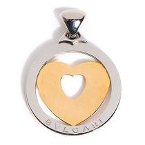 Bvlgari Bulgari Stainless Steel 18k Gold Tondo Heart Round Necklace Pendant Photo