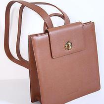 Bvlgari Italy Designer Luxury Brown Leather Backpack Handbag Purse Travel Photo