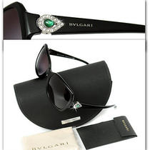 Bvlgari Ladies Emerald Crystal Black Sunglasses W/ Certificate Photo