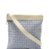 Bvlgari Logo Mania Shoulder Bag Canvas Leather Light Blue Photo