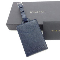 Bvlgari Name Tag Certificate Holder  Navy Leather Beauty Products Photo