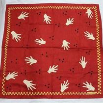 Bvlgari Scarf Large Format Size Women Hand Motif Red Photo