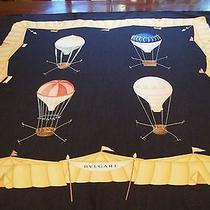 Bvlgari Vintage Large Hot Air Balloons Motif Silk Scarf Photo