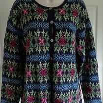 By Talbots 7b Cardigan Sweater Dk Blue With Colorful Floral Embroidery Cotton L Photo