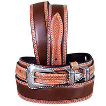 C-1-38 38 Inch 3d Natural Mens Fashion Ranger Tan Leather Belt Silver Buckle Photo
