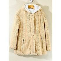 C & C California Jacket Womens Beige Sherpa Teddy Hooded Faux Fur Lining Size Xl Photo
