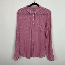 C & C California Large Pink Gingham Cotton Blouse Top Shirt Button Down Casual  Photo