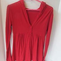 c&c California Long Sleeve Top Hoodie Red Button Front Size Small Photo
