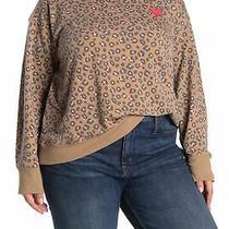 C & C California Women Alexa Sweatshirt Brown 3x Plus Cheetah Print 78- 044 Photo