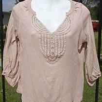 C Keer Anthropologie Sz Xs Cotton Blush Pink Lace Detail Top Shirt Photo