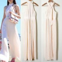 C/meo Collective Pink Blush Pleated Halter Wide Leg Jumpsuit Size Small Revolve Photo