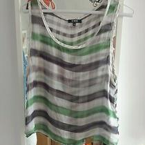 c.n.c Costume National Designer White and Green Check / Plaid Silk Top Photo