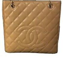C00 Auth Chanel Tan Quilted Caviar Leather Petite Shopping Tote Shoulder Bag Photo