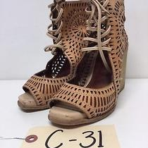 C31 Jeffrey Campbell Rayos Nude Perforated Leather Wedge Sandal Women's Size 5 M Photo