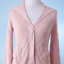 Cabi 159 Blush Pink 3/4 Sleeve Wide Collar Stretch Cardigan Sweater Size S Photo