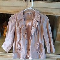 Cabi 400 6 Petal Jacket Blush Pink Fitted Blazer Ruffle Solid 3/4 Sleeve Rumpled Photo