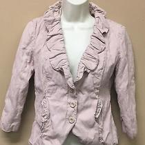 Cabi 400 Petal Jacket Blush Pink Fitted Blazer Ruffle Solid 3/4 Sleeve Rumpled 6 Photo