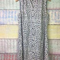 Cabi 5233 White Blue Leopard Print Camilla Shirt Dress Size Medium Lined Photo