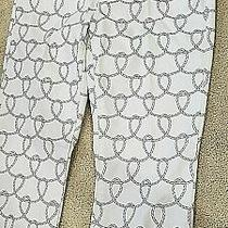 Cabi 761 White Back Nautical Rope Printed Ankle Cropped Straight Leg Jeans Sz 8 Photo