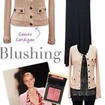 Cabi Blush Cameo Button Cotton Cashmere Cardigan Sweater  - Small Photo