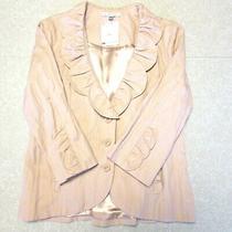 Cabi Blush Pink Petal Ruffle Blazer 400 New Crumpled Fabric Scalloped Size 12  Photo