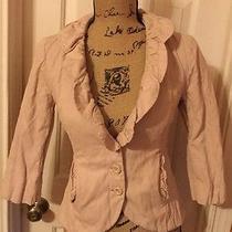 Cabi Blush Pink Petal Ruffle Collar Cotton & Metal Crinkle 3/4 Sleeve Jacket S 4 Photo