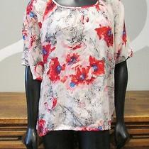 Cabi Blush Pink Red Abstract Floral Print Boat Neck Dolman Blouse Top - S Photo