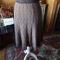 Cabi  Brown Blush Pink Elastic Waistband Lace Stretch Skirt Size Small Photo