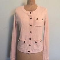 Cabi Pale Pink Blush Cardigan Sweater Black Buttons Size M Photo
