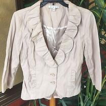 Cabi Ruffle Jacket Sz4 Blush Beige Crinkled Blazer Photo