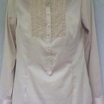 Cabi Shirt S Silky Polyester Beige Blush Long Sleeve Triple Ruffle Collarless Photo