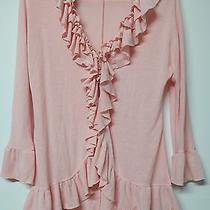 Cable & Gauge Sz S Romantic Ruffle Cascading Pink Blush Hi-Lo Cardigan Sweater Photo