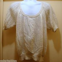 Cable Knit Blouse Sweater Size S Ivory Photo